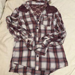 Lace & Flannel Button-Down